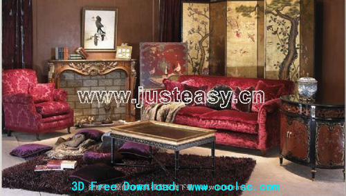 Combination of European luxury sofa 3D model (including materials)
