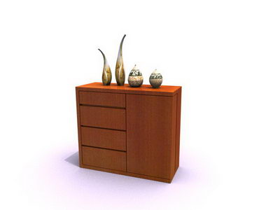 Entrance cabinet 3D model (including materials)
