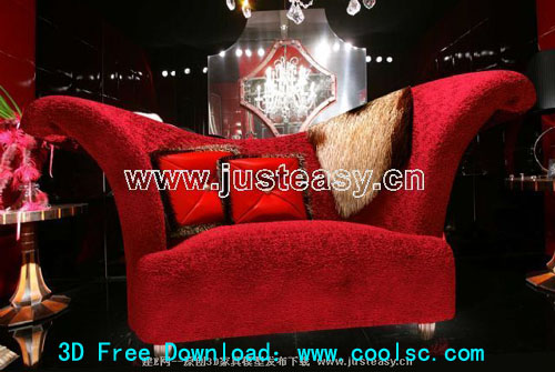 Red fabric sofa 3D model