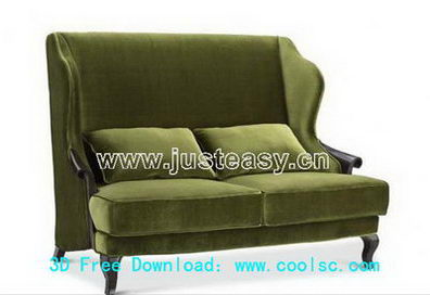 Green fabric sofa 3D model (including materials)