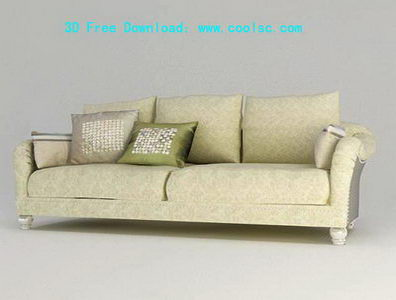 European fabric sofa 3D model grid (including materials)