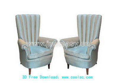 European parlor sofa 3D model (including materials)
