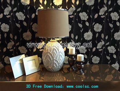 European luxury table lamp 3D Model (including materials)