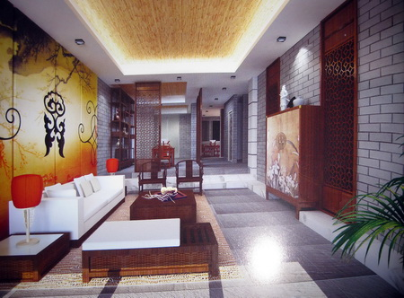 Chinese abstract style living room sliding door