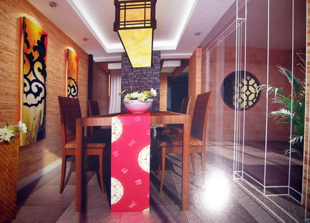 Home Wooden Chinese restaurant 3D model (including materials)