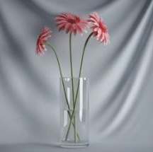 Plant Bonsai Series - the glass of red flowers 3D model (including materials)