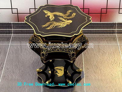 Chinese dragon and phoenix carved wooden bench