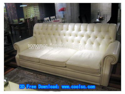 3D Model of white leather sofa