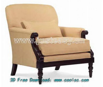 Neo-classical fabric sofa 3D model (including materials)
