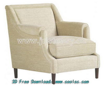 Beige sofa chair high pad single 3D model (including materials)