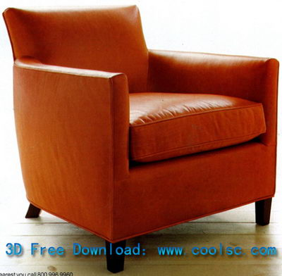 Red leather sofa, chair high pad single 3D model (including materials)