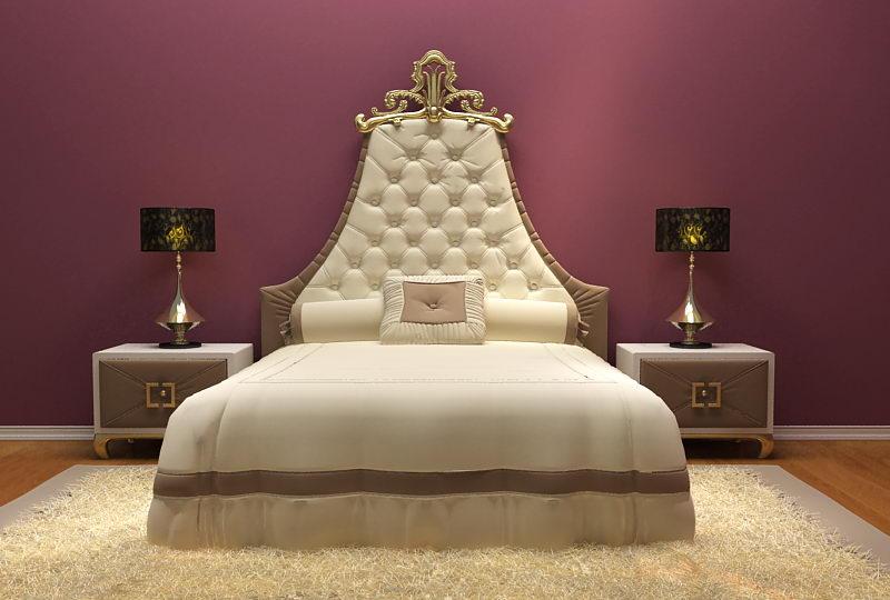 European Luxury Bed 3D Model Including Materials 3D