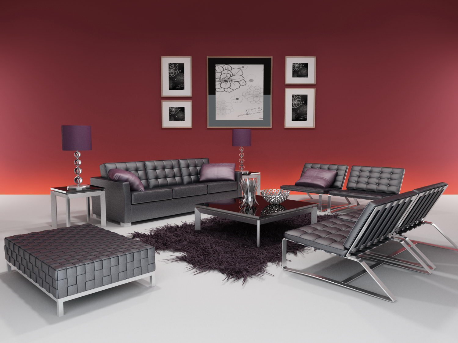 Ultra-modern Minimalist Sofa 3D Model (including Materials