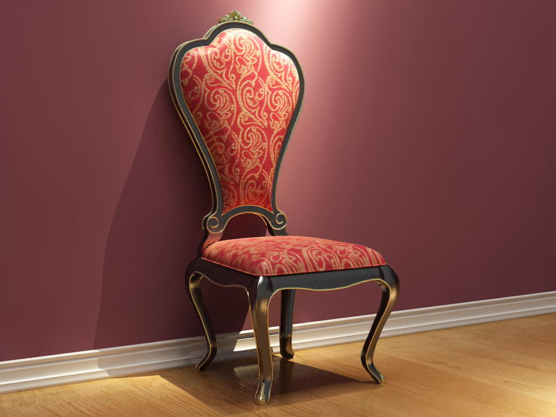 European-style dark red wooden chair