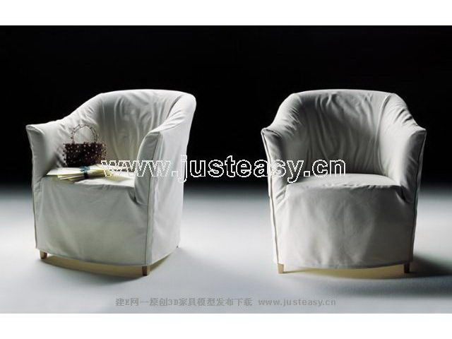 Modern sofa 3D Model of white cloth (including materials)