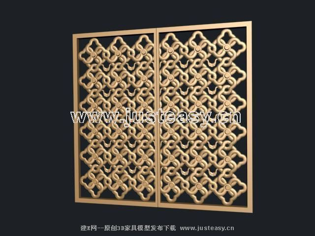 3D model of traditional Chinese wooden window grilles (including materials)