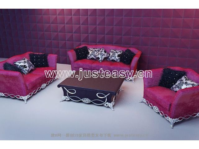 Soft red fabric sofa