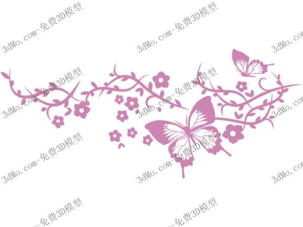 Butterfly pattern wall painted 3D model