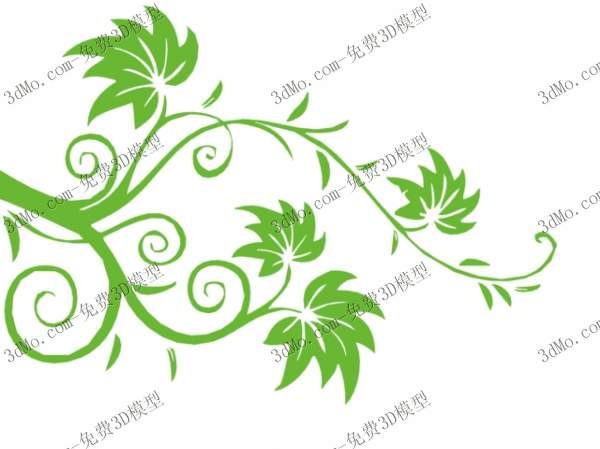 Green leaves branch wall drawing 3D models (including materials)