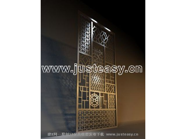 3D model of traditional Chinese wooden screen (including materials)