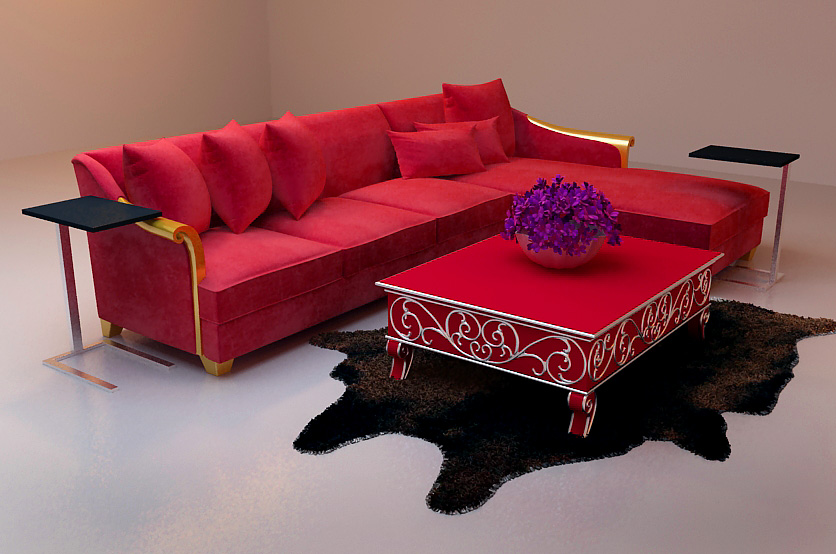 Bao Yang bright red sofa 3D Model of L-type (including materials)