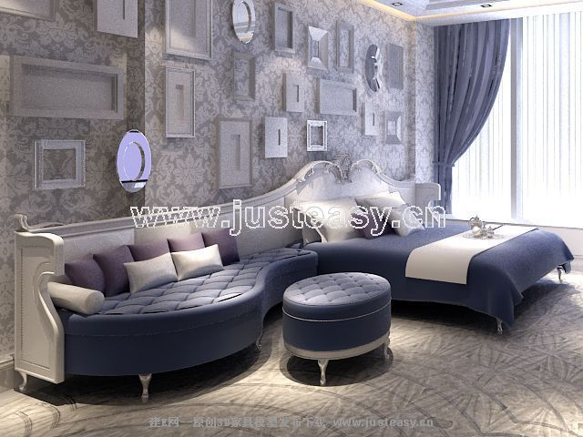 Furniture sofa and bed 3D model (including materials)