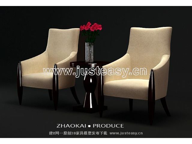 Parlor single sofa 3D model (including materials)