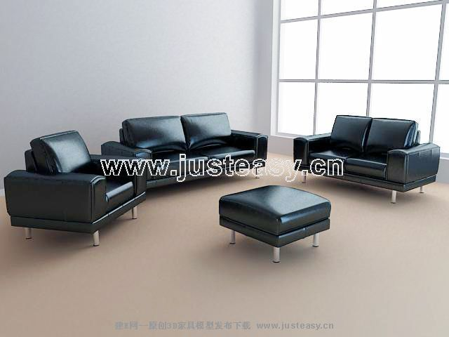 3D model of leather sofa business combination (including materials ...