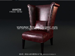 3D Model of leather chairs European count (including materials)