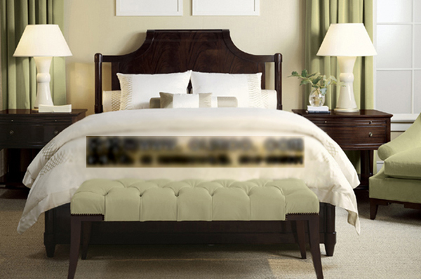European-style wooden double bed