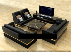 3D model of the living room furniture combinations (including materials)
