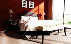 Under the setting sun dipped 3D model of the traditional wooden beds (including materials)
