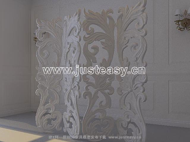 3d model of european plaster wall including materials 3d for Platre decoration moderne