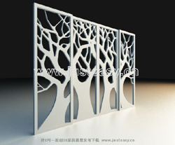 Modern abstract series screen 3D model (including materials)