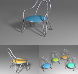 Streamlined small chair 3D models