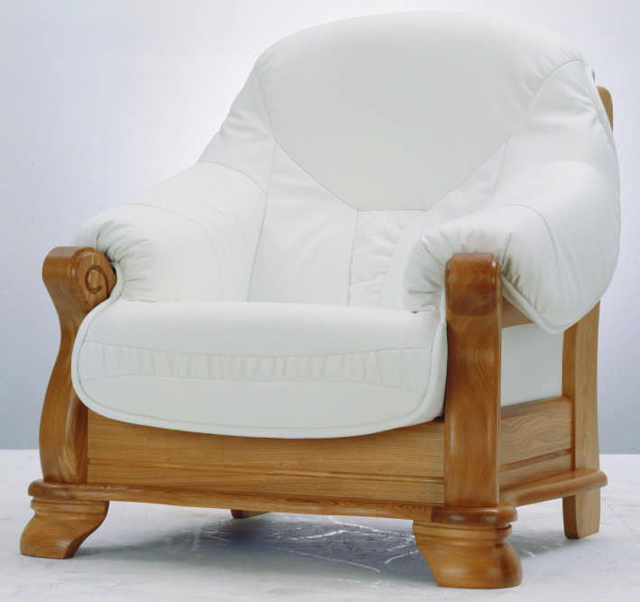 Single white dermal sofa wood bottom