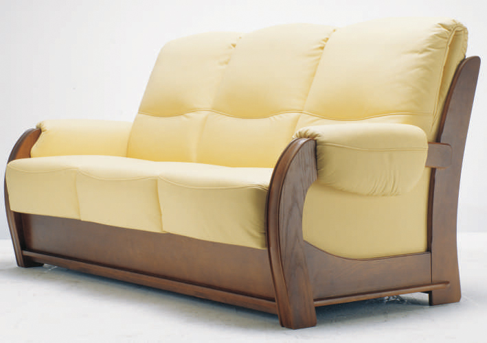 Inclined backrest wood base multiplayer cloth art sofa