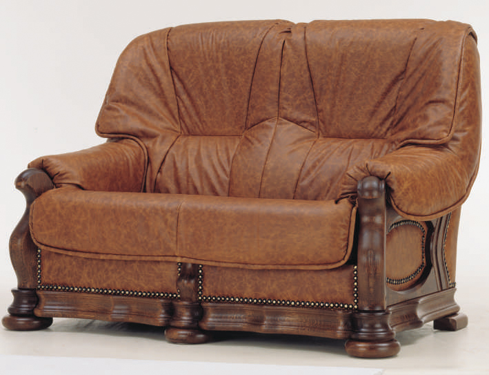 European cowhide double sofa
