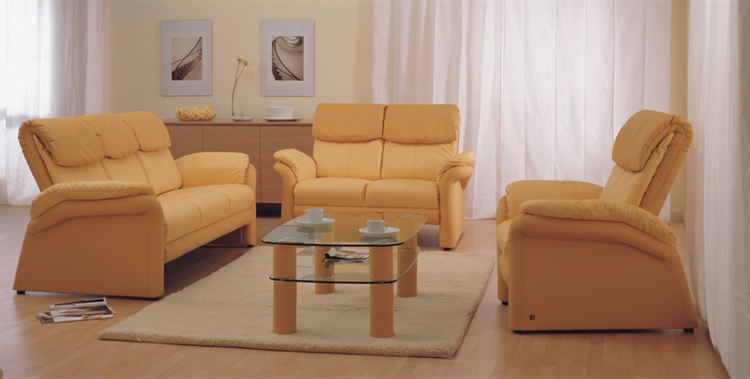 Combination of the yellow living room sofa at home