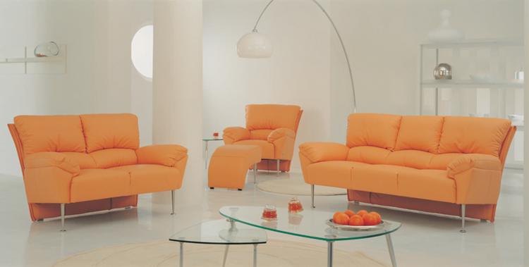 Combination of orange leisure sofa at home