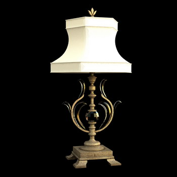 European art lamp. Wood restoring ancient ways