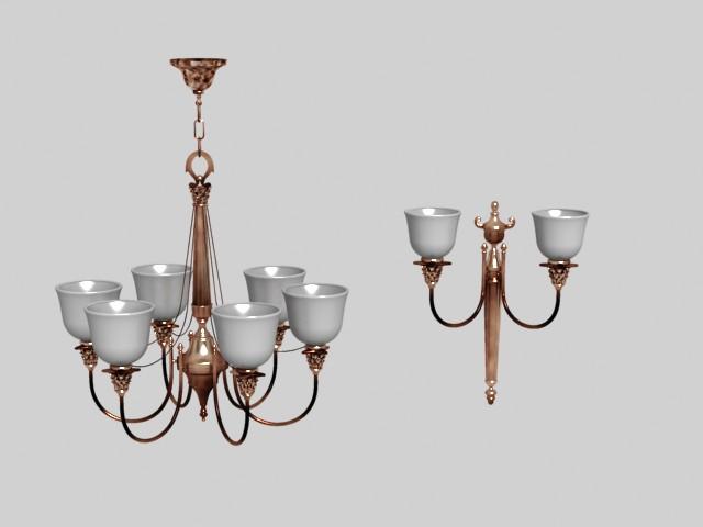 Wrought iron ceramic droplight 3D models