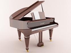 Coffee type grand piano playing 3D models