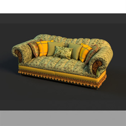 Russian style multiplayer cloth art sofa 3D models