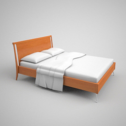 Relaxed contracted modelling wooden bed 3D models