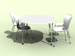 Combination of Chinese white dining tables and chairs