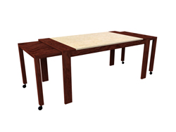 Solid wood rectangular table, with roller