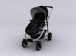 Black push baby carriages