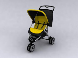 Yellow three-wheeled push baby carriages