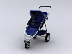 Blue three-wheeled push baby carriages